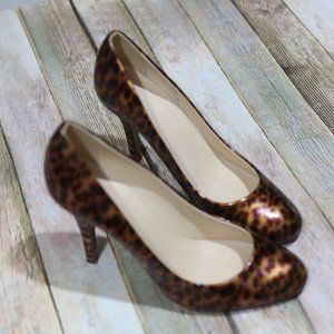 J Crew Mona Leopard Print Patent Leather High Heel